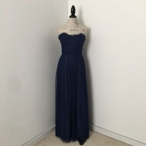 Vera Wang Bridesmade Navy Blue Maxi Tulle Dress